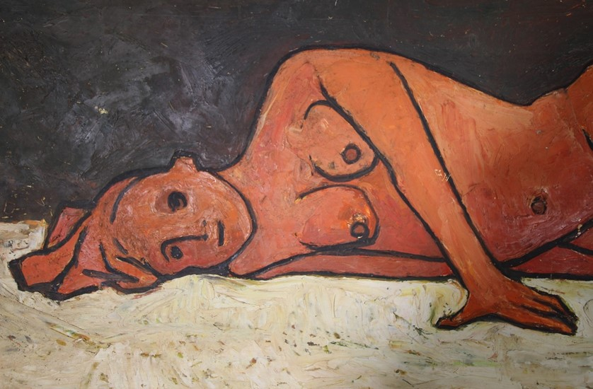 Full length 1960's nude oil painting.