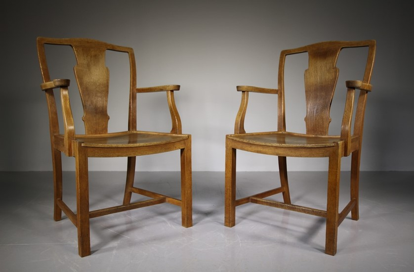 Heal antique oak carver dining chairs - labelled