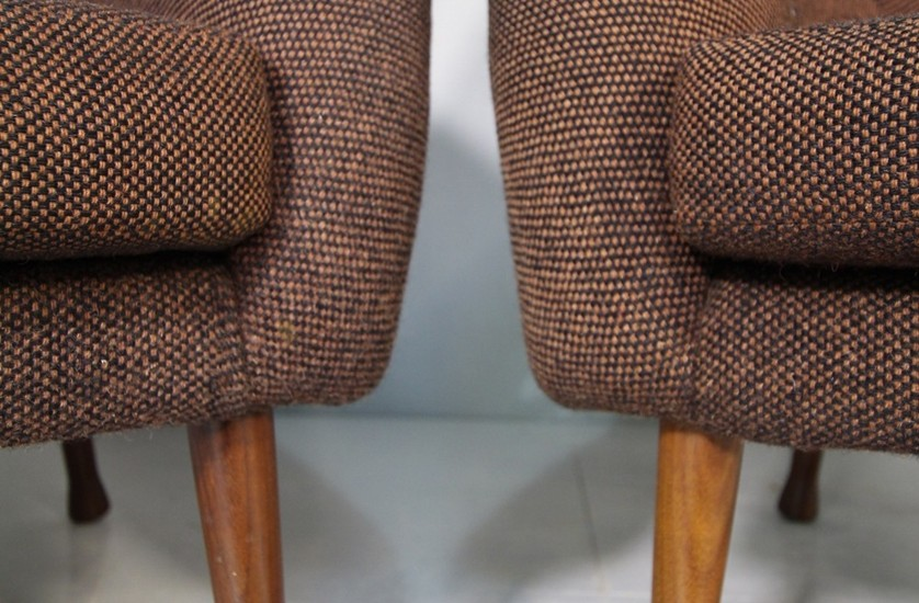 Detail of two fabric armchairs