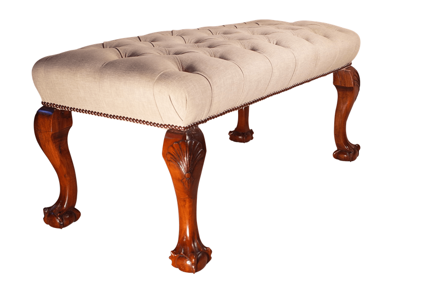 Deep Buttoned Stool on Cabriole Legs