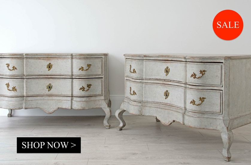 Pair of Swedish Serpentine chests now on sale