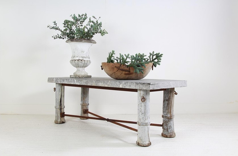 EXCEPTIONAL FRENCH 19THC BLUESTONE PASTRY TABLE