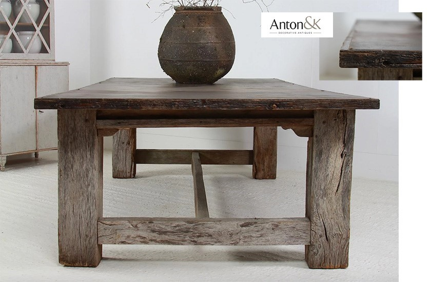 huge gnarly oak and iron table