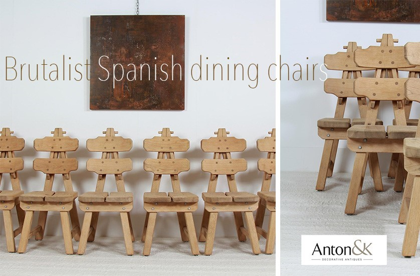 brutalist spanish oak mid century dining chairs
