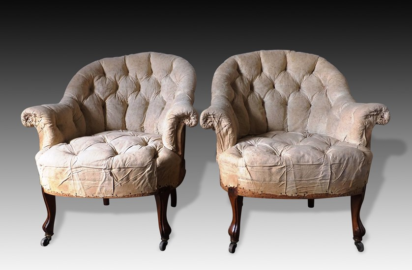Pair of Buttoned Armchairs