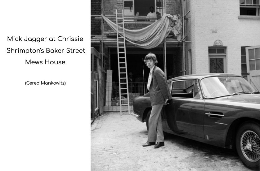 mick jagger at chrissie shrimpton's mews house