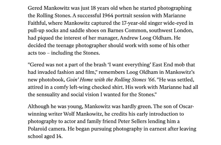 the independent newspaper article on gered mankowitz and the rolling stones