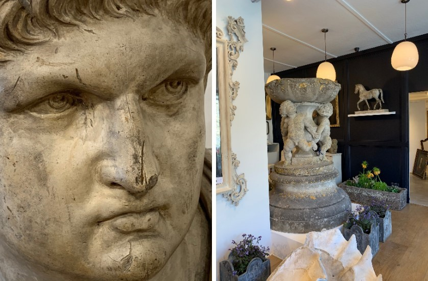 plaster bust and showroom view at vagabond antiques