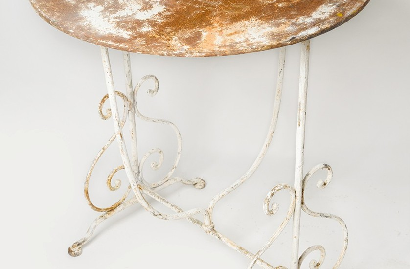 White painted metal garden table