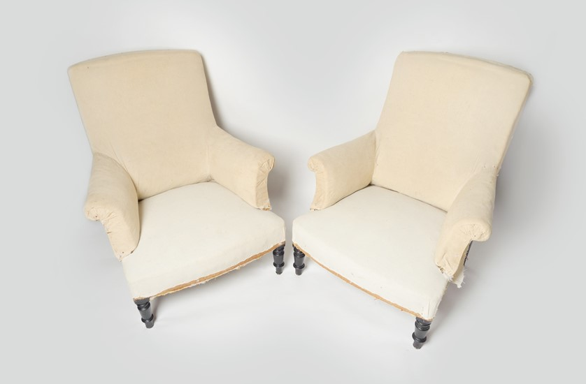 Antique French pair of Napoleon III chairs