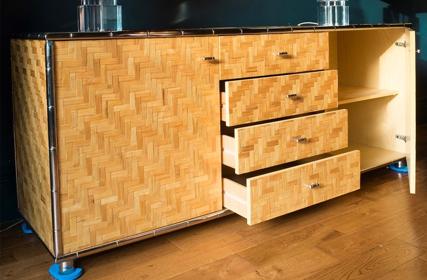 italian faux bamboo and chrome bamboo trim credenza