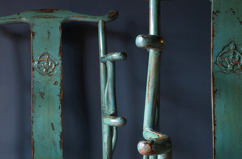 chinese yoke back chairs original teal paint